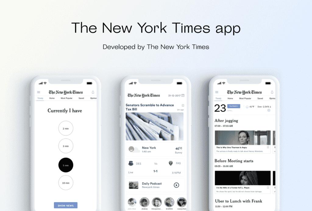 The New York Times mobile app design