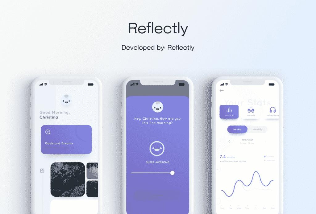 Reflectly mobile app design