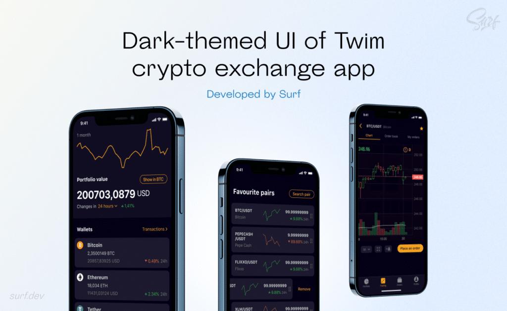 Dark-themed UI of Twim crypto exchange app developed by Surf