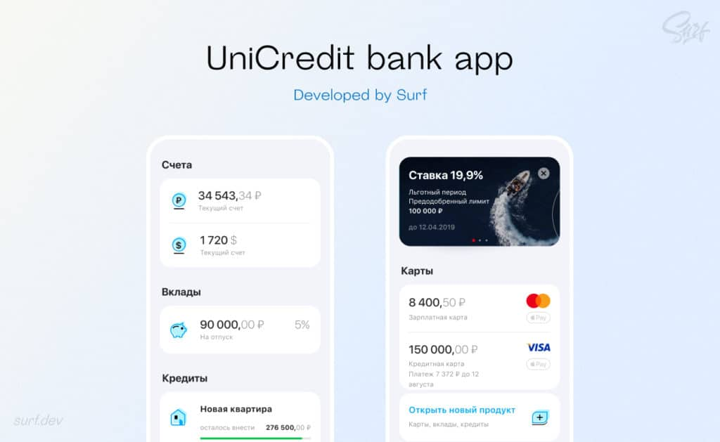 UniCredit bank app developed by Surf
