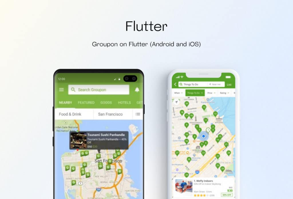 Flutter app interface (Android and iOS)