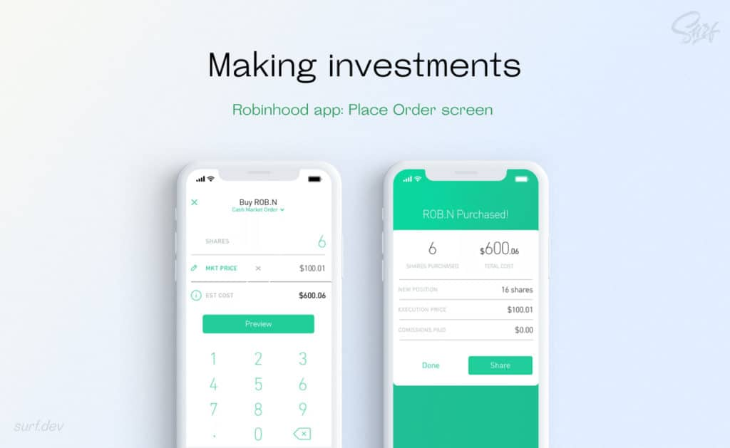 Making investments in Robinhood app