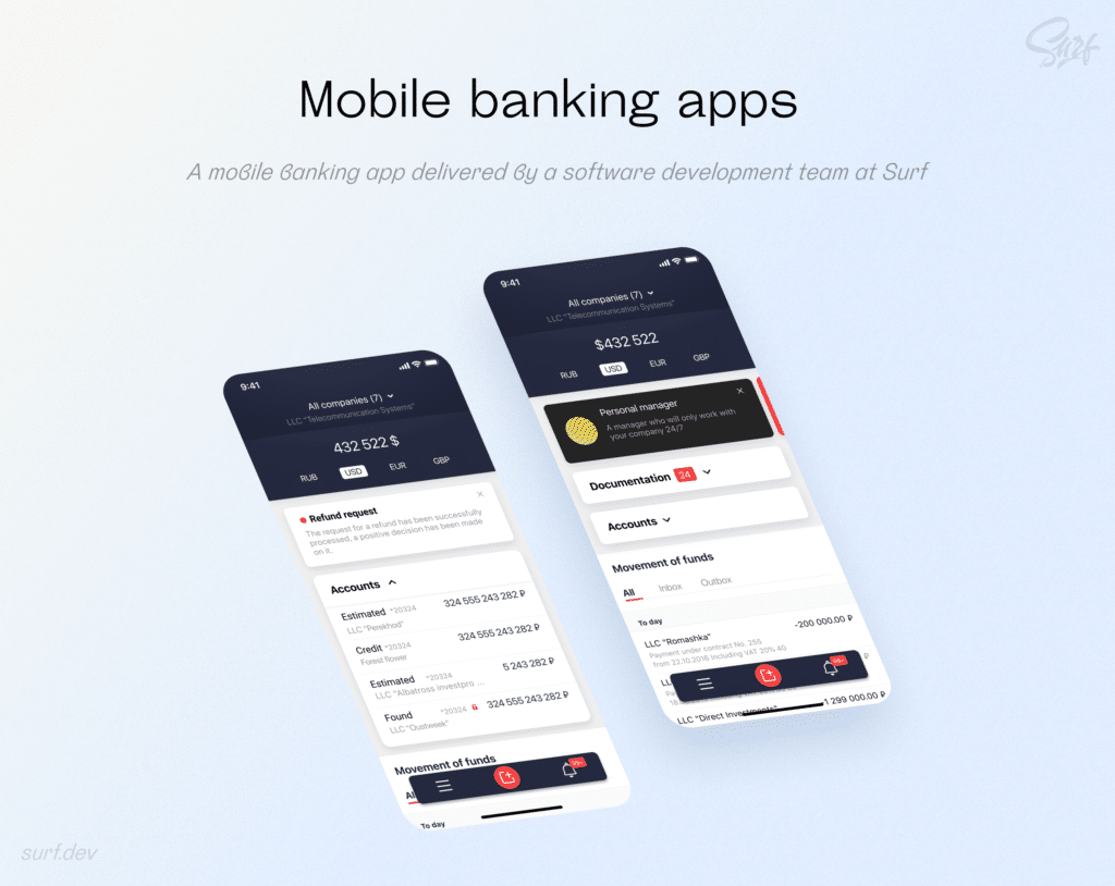A mobile banking app delivered by a software development team at Surf