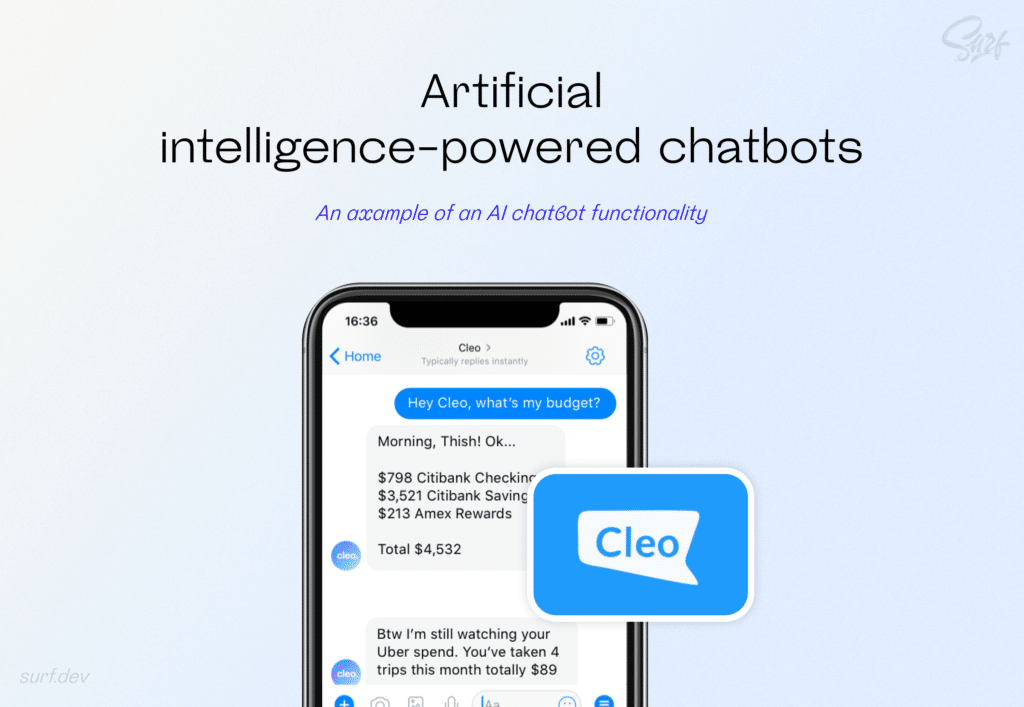 An example of an AI chatbot functionality