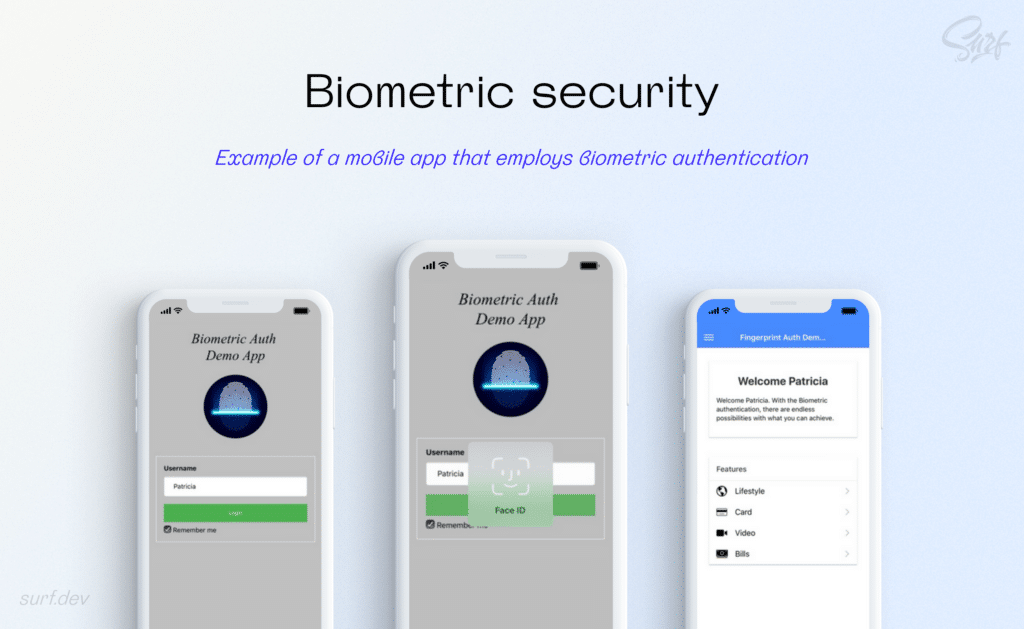 Examples of a mobile app that employs biometric authentication