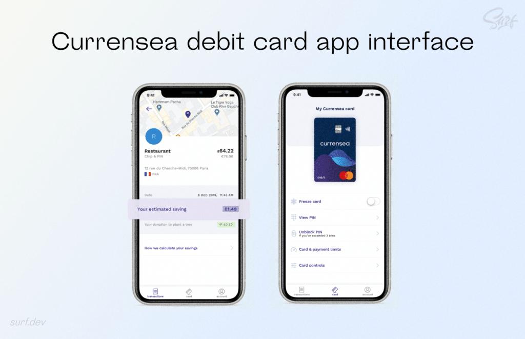 Currensea debit card app interface