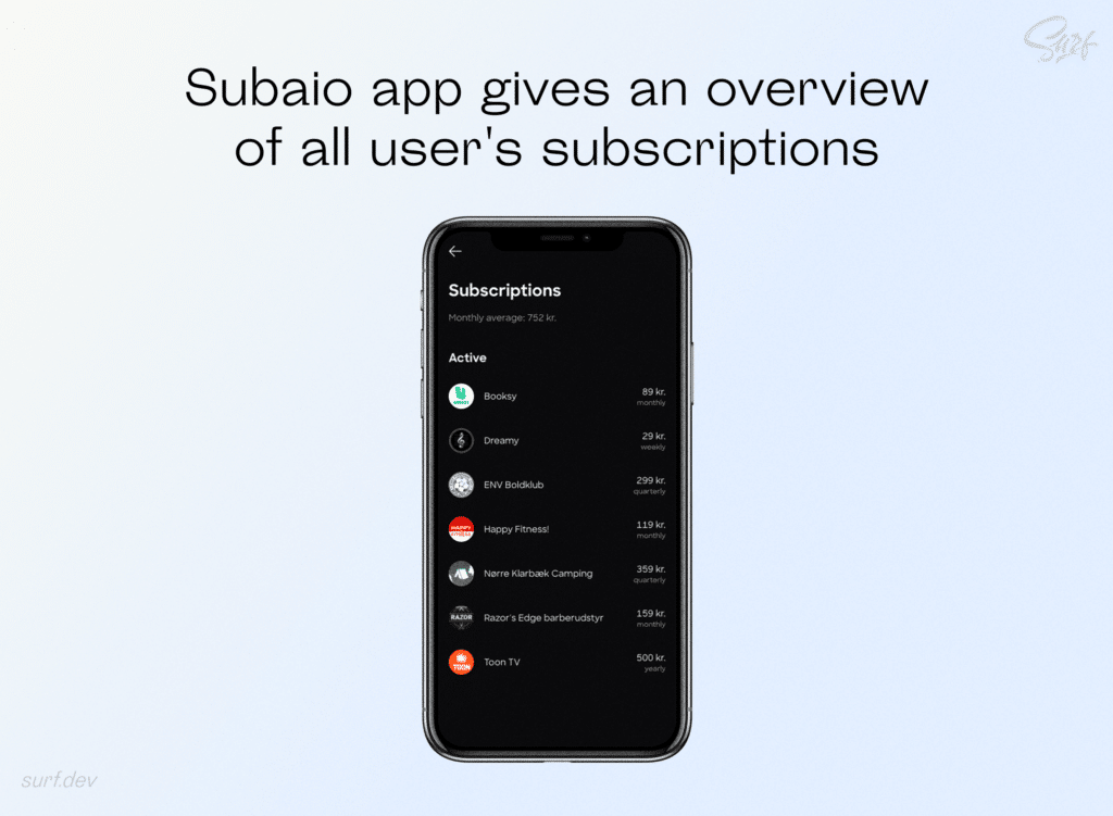 Subaio app gives an overview of all user's subscriptions