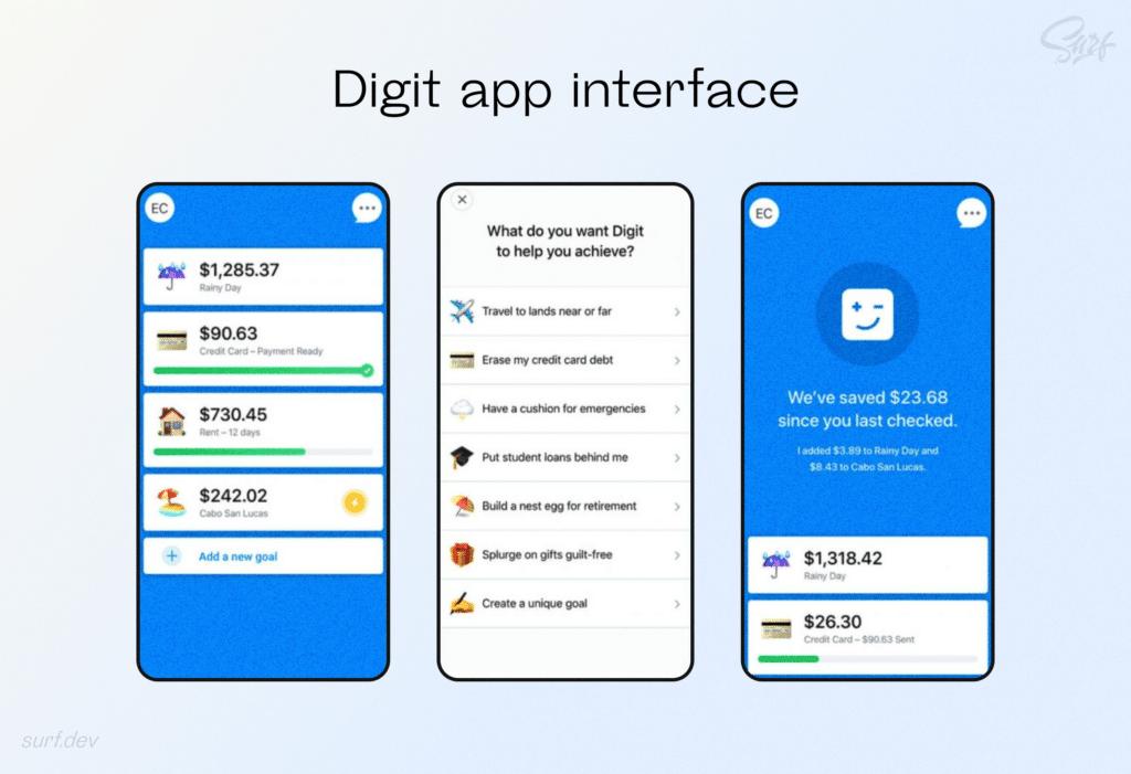 Digit app interface