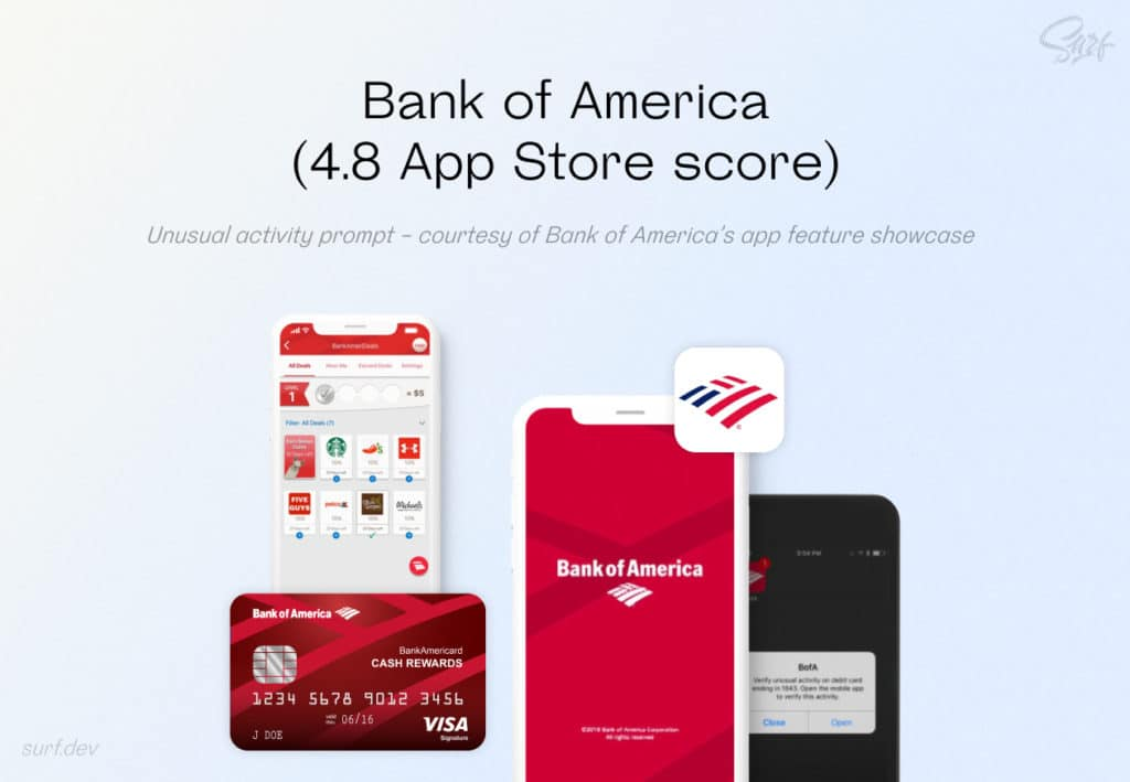 Unusual activity prompt - courtesy of Bank of America's app feature showcase