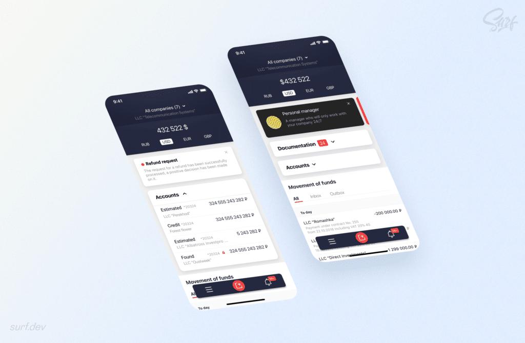 Rosbank Business app design